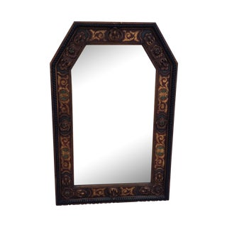 1950s Carved Wood French Mirror For Sale