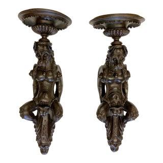 19th Century Italian Oak Wall Brackets - a Pair For Sale