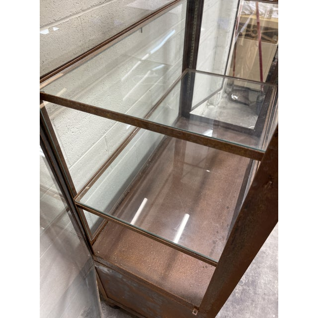 Metal Pagoda Style Rustic Glass Metal Display Case For Sale - Image 7 of 13