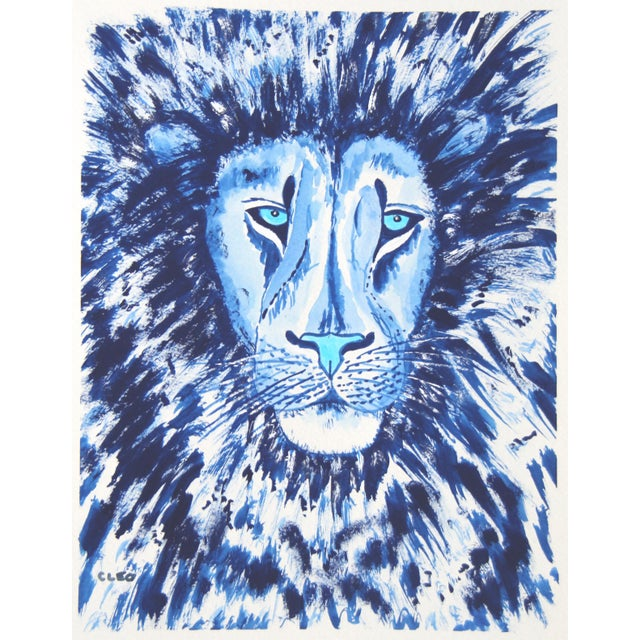 Lion in Blue Painting by Cleo Plowden For Sale In New York - Image 6 of 6