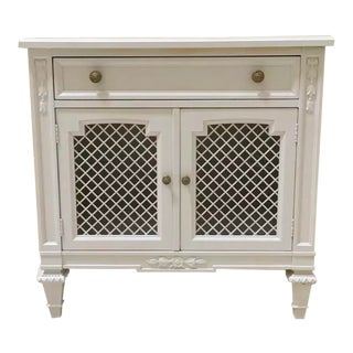 White Kindel Nightstand Cabinet For Sale