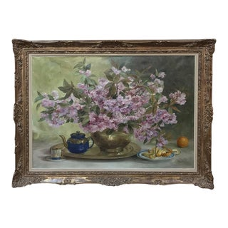 Russian Framed Oil Painting on Canvas For Sale
