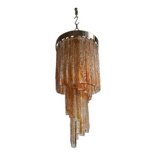 "Murano Max Ingrand Style ""Lava"" Glass Design Chandelier For Sale"