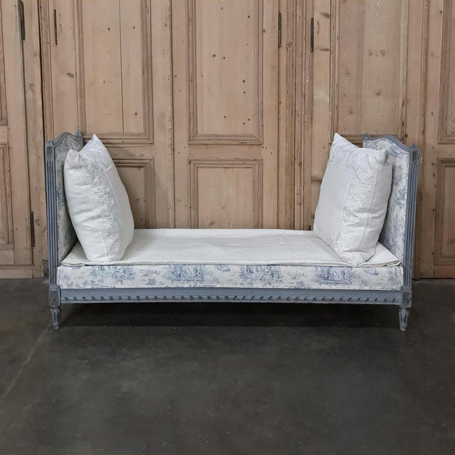 19th Century French Louis XVI Upholstered Day Bed makes a great choice as a sofa, as guest room accommodations, or simply...