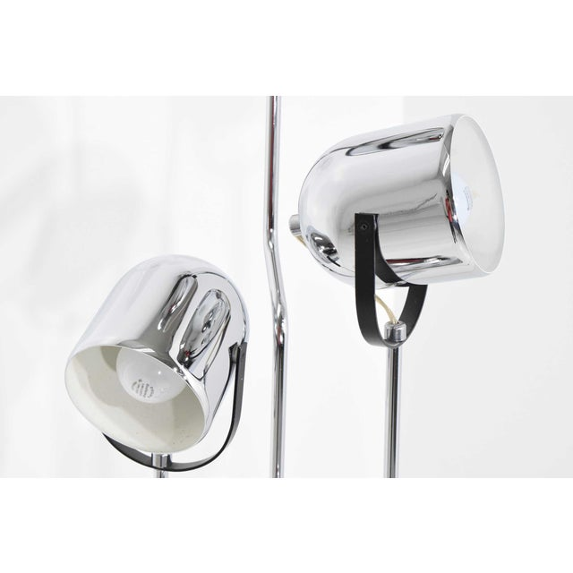 Silver Reggiani 4 Head Chrome and Black Floor Lamp For Sale - Image 8 of 11