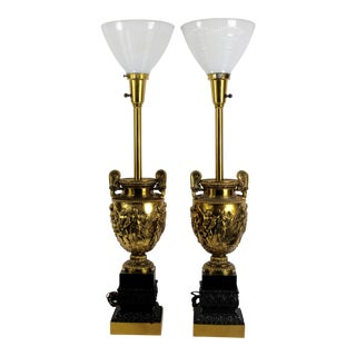 Stiffel Roman Brass Relief Lamps - a Pair For Sale