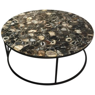 Round Agate Coffee Table With Iron Base Haskell For Sale