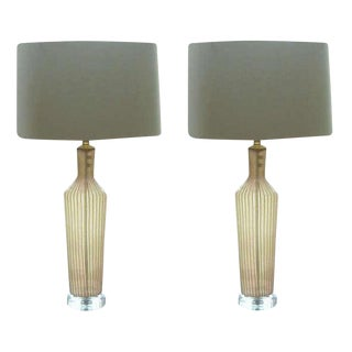 Dino Martens Murano Glass Table Lamps Pink Green Stripes For Sale