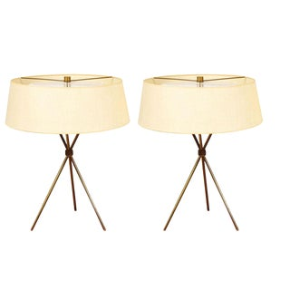 T.H. Robsjohn-Gibbings for Hansen Brass Tripod Table Lamps - a Pair For Sale