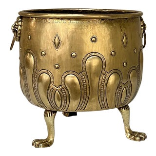 19th Century Embossed Brass Footed Jardiniere For Sale