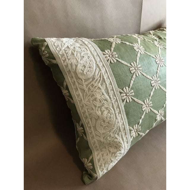 Pistachio Transitional Green Pillow W/ Natural Embroidered Flower Lattice For Sale - Image 8 of 11