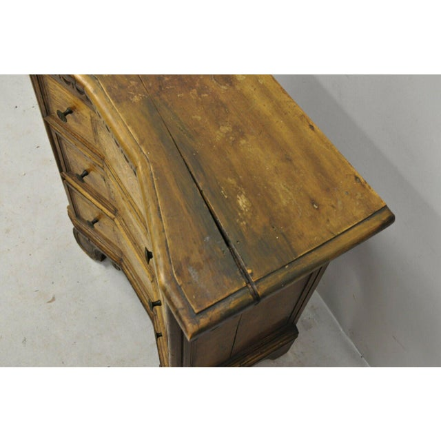 Wood Antique Italian Continental 3 Drawer Inlaid Walnut Commode Chest Nightstand For Sale - Image 7 of 12