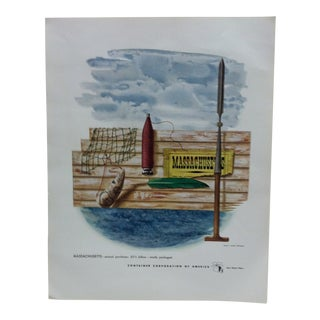 """1960s Vintage """"Massachusetts"""" Container Corporation of America Color Advertising Print For Sale"""