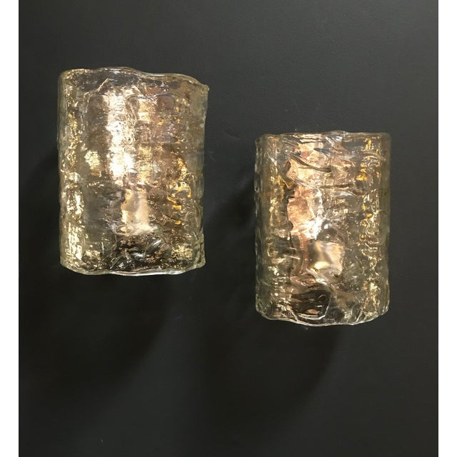 Italian pair of cylindrical wall lights frosted Murano glass, 1960s.