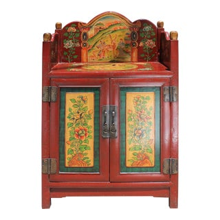 Chinese Tibetan Vintage Floral Animals Graphic Shrine Offer Table Cabinet For Sale