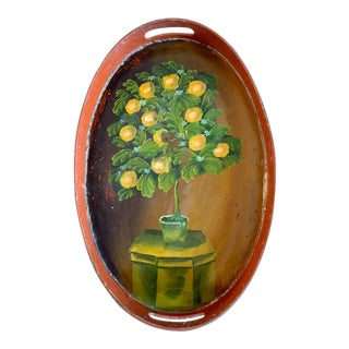 Old Hand Painted Wood Tray For Sale