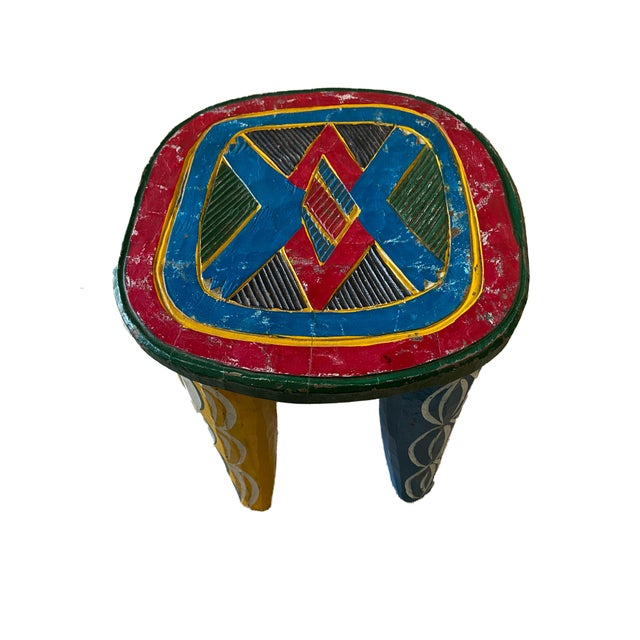 "African Old Nupe Stool Nigeria 11.5"" H For Sale - Image 9 of 13"