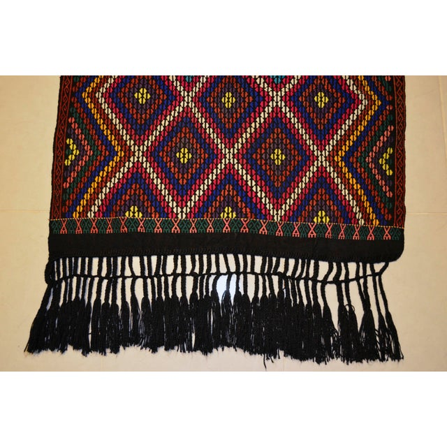 Textile Turkish Hand Woven Kilim Rug/Braided Wall Hanging - 3′2″ X 3′5″ For Sale - Image 7 of 9