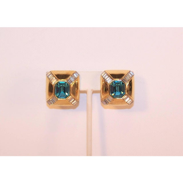 Art Deco Art Deco Style 1980s Ciner Aquamarine Rhinestone Gold Tone Earrings For Sale - Image 3 of 7