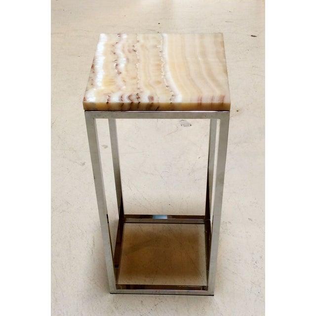 Milo Baughman Chrome & Marble Pedestal - Image 3 of 7