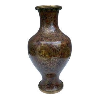 Vintage Brown Cloisonne Vase For Sale