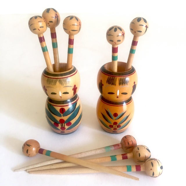 Asian Vintage Mid Century Japan Rare Kokeshi Hand Painted Wood Hors d'Oeuvre Picks / Cocktail Skewers - 11pc Set For Sale - Image 3 of 13