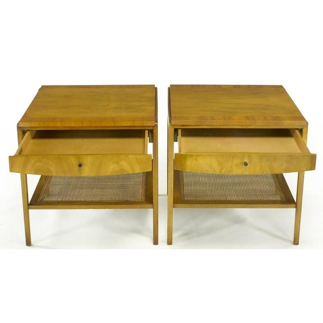 Pair Widdicomb Bleached Walnut & Cane Single Drawer End Tables - Image 5 of 10