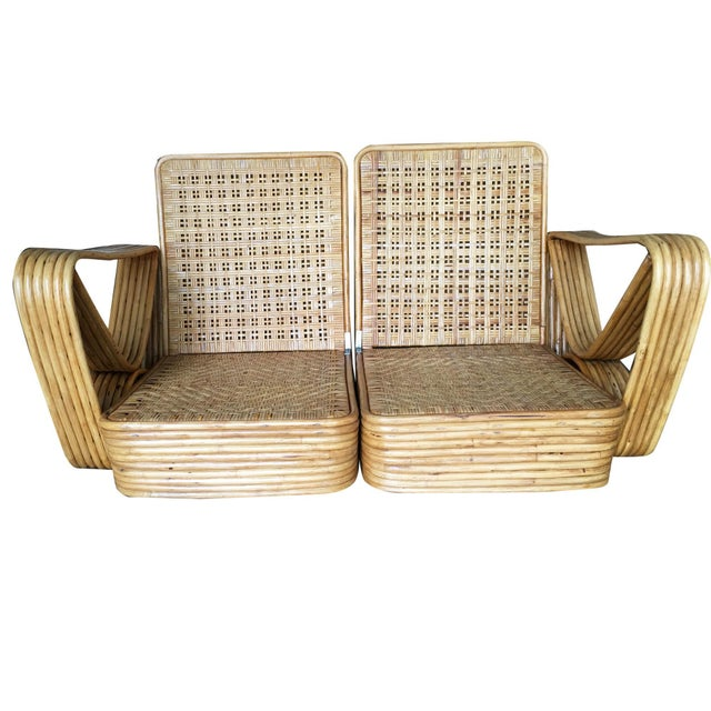 Boho Chic Restored Paul Frankl Six-Strand Wicker Rattan Sofa Living-Room Set W/ Side Table and Ottoman For Sale - Image 3 of 10