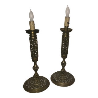 Brass Filigree Tall Candelabra Lights - a Pair For Sale