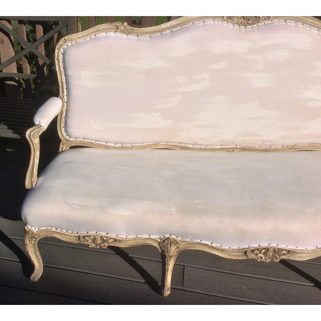 Paint Worn Painted Finish Antique French Settee For Sale - Image 7 of 11