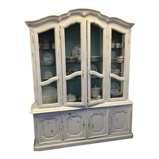 1960s Vintage China Cabinet With Mesh Inserts For Sale