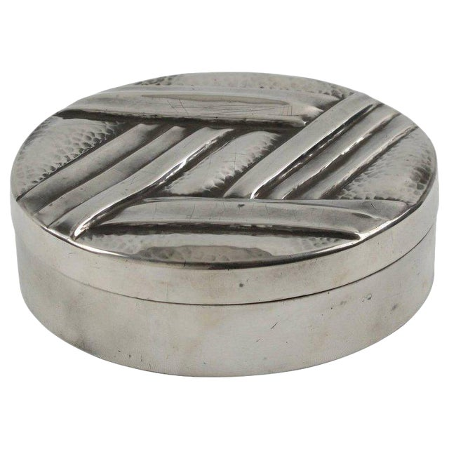 French Designer L. Guilbaud Art Deco 1930s Dinanderie Pewter Box For Sale