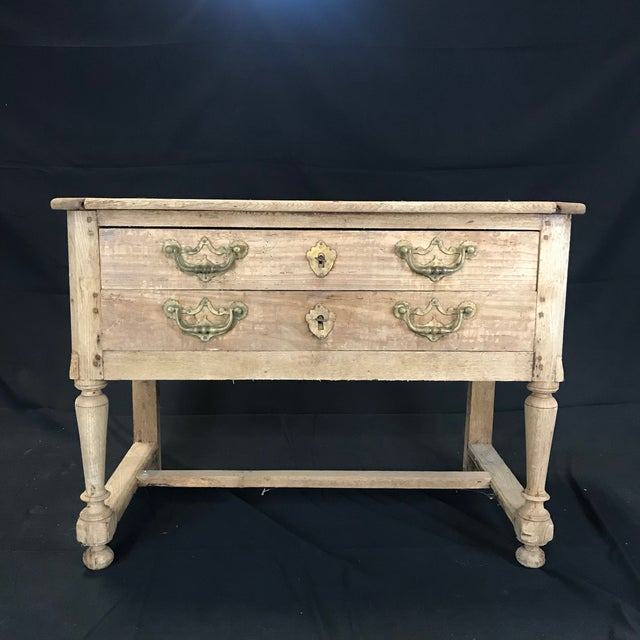 French Rustic Naturally Distressed Two Drawer Console Table Commode For Sale - Image 4 of 12