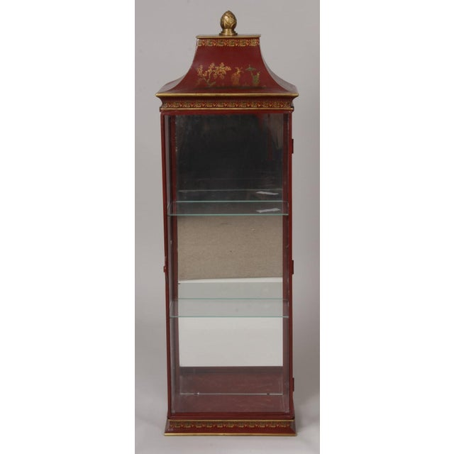 Chinoiserie Red Painted Tole Hanging or Standing Shelf - Image 2 of 5