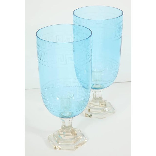 Mid-Century Modern Pair of Blue Glass Hurricanes For Sale - Image 3 of 8