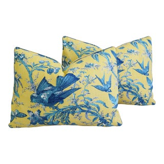 "Summer Blue Birds & Butterflies Feather/Down Pillows 22"" X 16"" - Pair For Sale"