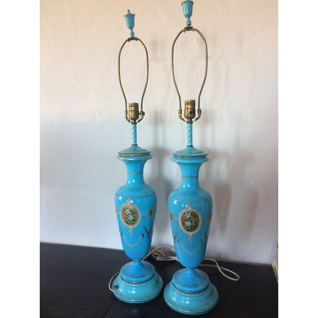 Pair of Table Lamps Antique French Blue Glass Opaline - Image 2 of 6