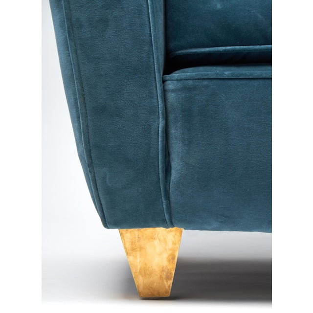 Mid-Century Italian Poltrona Frau Velvet Sofa For Sale - Image 11 of 12
