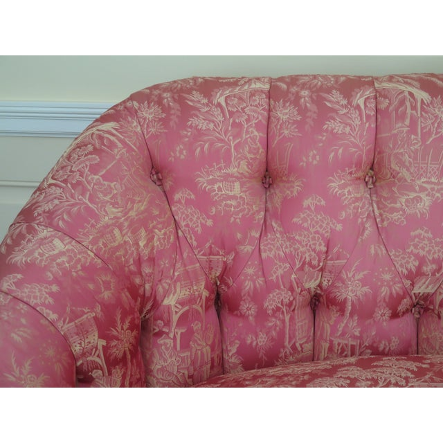 Chinoiserie Silk Upholstered Tufted Loveseat Age: Approx: 20 Years Old Details: High Quality Construction Custom Made...