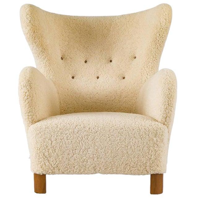 Scandinavian Sheepskin Lounge Chair - Image 1 of 10