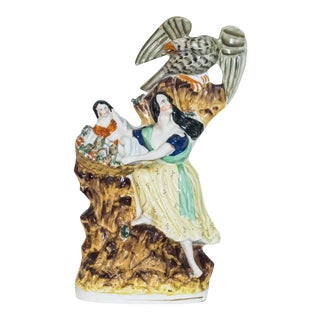 19th Century Antique Staffordshire at the Eagles Nest Mother's Courage Figure For Sale