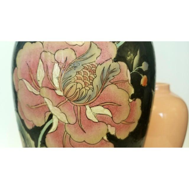 Wildwood Vintage Asian Black and Pink Floral Porcelain Table Lamp For Sale - Image 4 of 13
