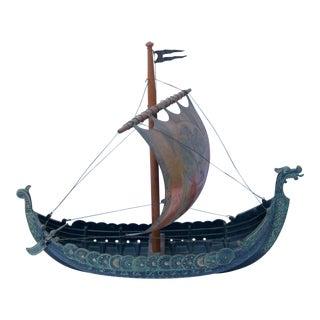 1950s Danish Cast Metal Viking Ship Model by Iron Art For Sale