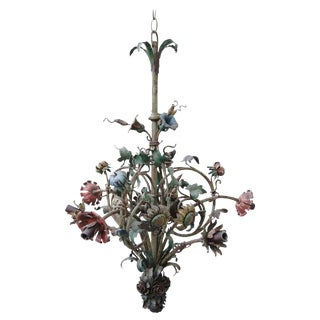 Painted Wrought Iron Flower Chandelier C. 1900's For Sale