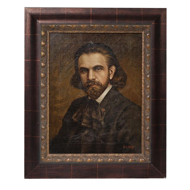 19th Century Oil Portrait of a Man by A.J. Day - Image 1 of 3