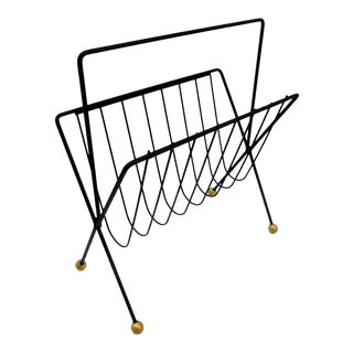 1950s Vintage Tony Paul Black Wire Magazine Rack Holder For Sale