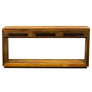 Contemporary Rustic Modern Console Table - Reclaimed Peroba Rosa Wood
