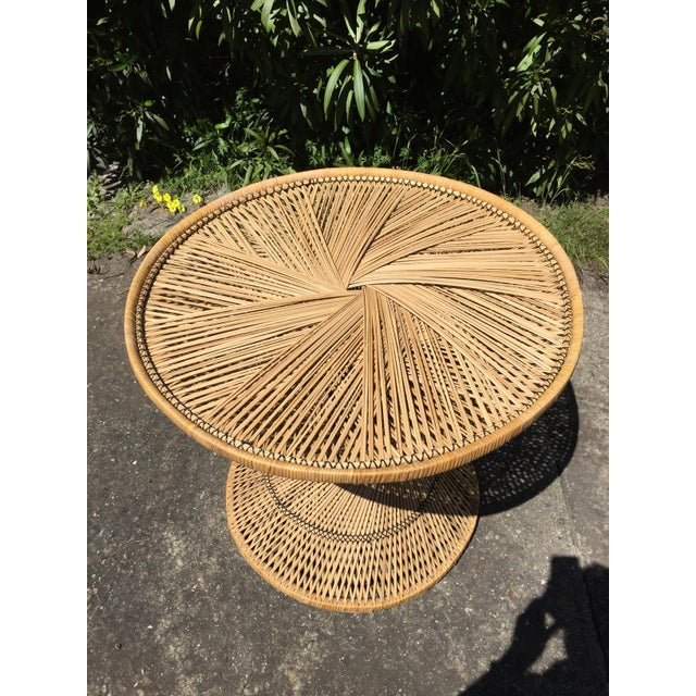 Boho Chic 70s Boho Rattan Hourglass Dining Table For Sale - Image 3 of 8