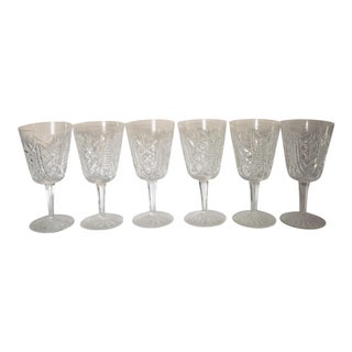 1960s Vintage Waterford Cut Crystal Wine/Water Glasses - Set of 6 For Sale