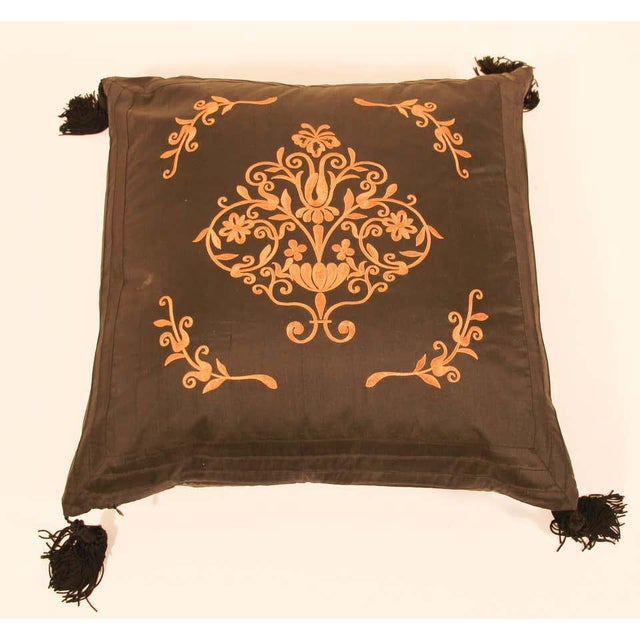 Indian Embroidered Black Silk Decorative Throw Pillow with Tassels For Sale - Image 3 of 11